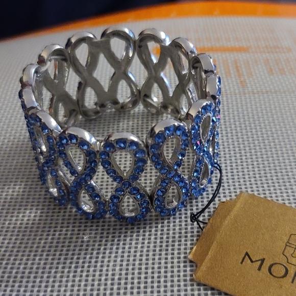 Monet blue crystal and Silver-tone bracelet